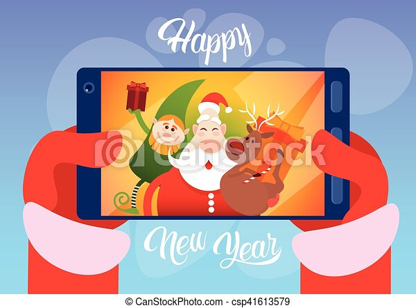 Santa Claus With Reindeer Elfs Making Selfie Photo, New Year Christmas Holiday Greeting Card - csp41613579