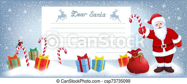 Santa Claus with striped candy and layout letter with list wish to Santa Claus and many gift boxes - csp73735099