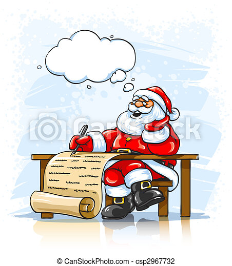 Merry santa claus writing christmas greeting letter clip art santa claus writing christmas greeting letter csp2967732 m4hsunfo