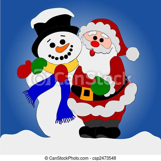 santa clause and snowman csp2473548 - Santa And Snowman