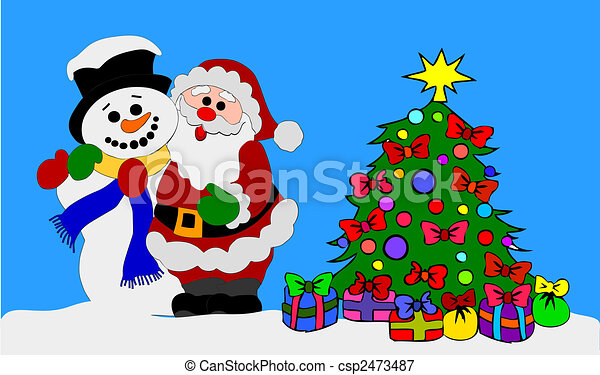 santa clause and snowman with christmas tree csp2473487 - Santa And Snowman