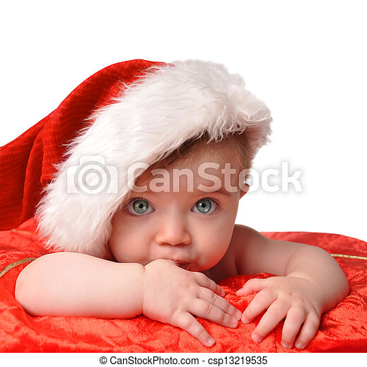 b71f1a3111b Santa clause baby with hat on white. A young little santa baby is ...