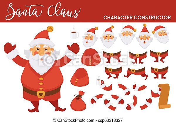 Santa Clause character constructor with spare bearded face, legs in boots, plump body, hands in mittens, long paper list of kids isolated cartoon flat vector illustration - csp63213327