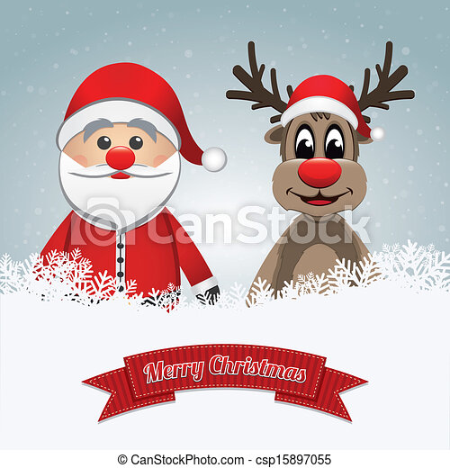 santa clause reindeer merry christmas csp15897055 - Christmas Santa Reindeer
