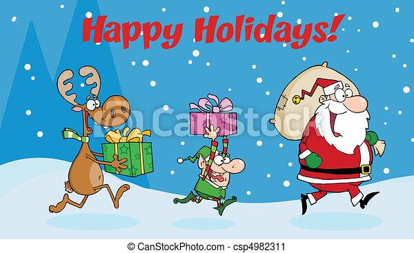 Santa Claus,Elf and Reindeer  - csp4982311