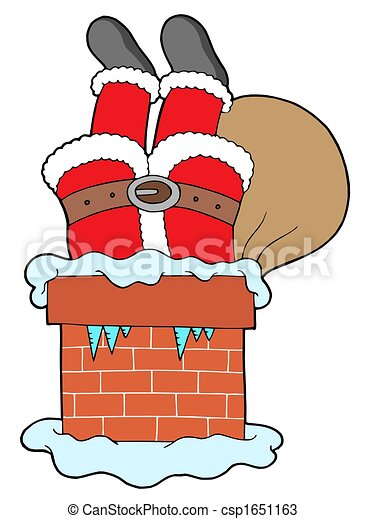 Santa Clauses Legs With Chimney Isolated Illustration