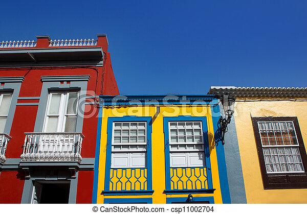 Santa Cruz de La Palma colonial house facades - csp11002704