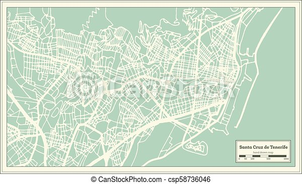 Map Of Spain Tenerife.Santa Cruz De Tenerife Spain City Map In Retro Style Outline Map