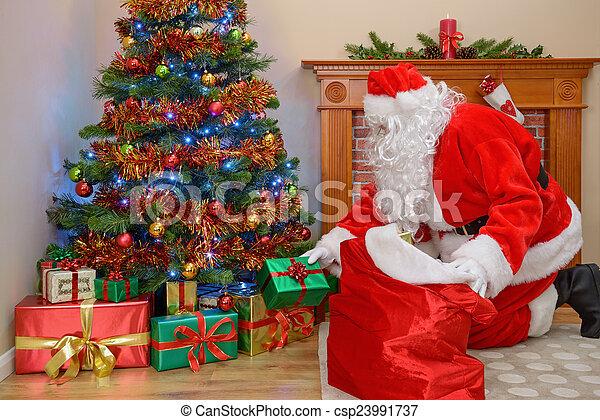 Christmas Presents.Santa Delivering Christmas Presents
