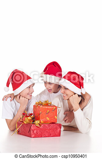 santa family with gifts - csp10950401