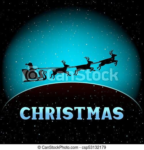 Santa fly in christmas magic night winter holiday time new year santa fly in christmas magic night csp53132179 m4hsunfo