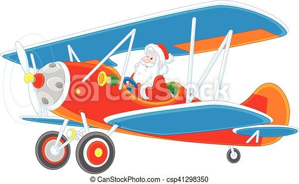 santa flying a plane vector illustration of santa claus piloting