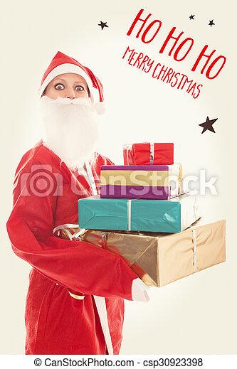 Ho Ho Ho Merry Christmas.Santa Girl Holding A Lots Of Presents Text Ho Ho Ho Merry Christmas On A Vintage Background
