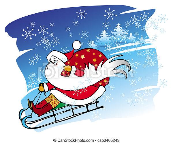 Santa goes with a sledge - csp0465243