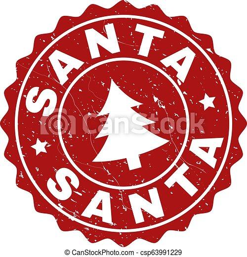 SANTA Grunge Stamp Seal with Fir-Tree - csp63991229