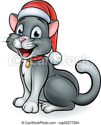 Christmas Hat Cartoon.Santa Hat Christmas Cat