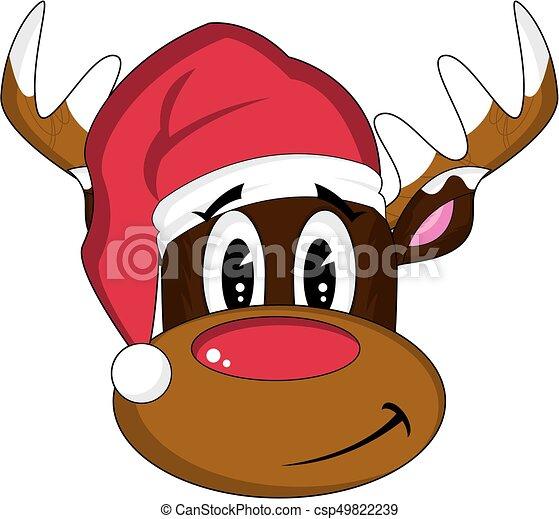 9d2f67b75aae1 Santa hat rudolph the reindeer. Cute cartoon santa hat rudolph the ...