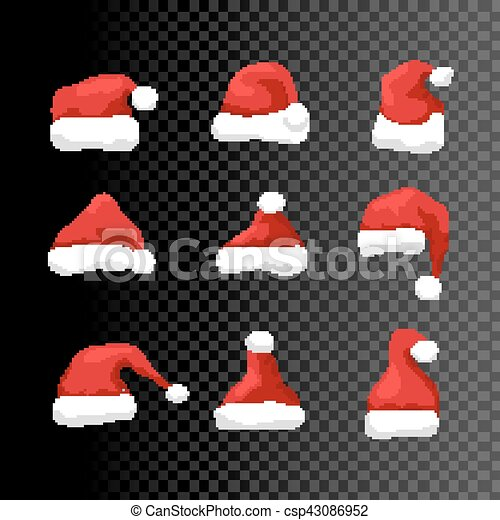 Transparent Christmas Hat.Santa Hat Vector Symbol Illustration Isolated Holiday Red Hat Santa Claus Design Decoration On Transparent Winter Merry Christmas And New Year