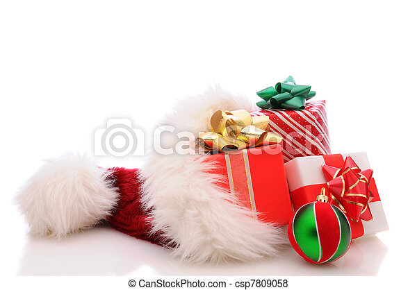 Santa Hat with Presents - csp7809058