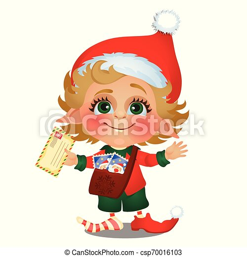 Santa helper delivers mail isolated on white background. Sample of poster, party holiday invitation, festive card. Vector cartoon close-up illustration. - csp70016103