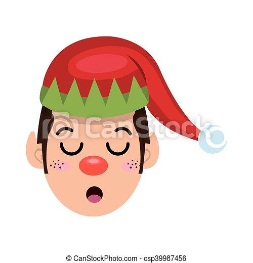 santa helper elf cartoon - csp39987456