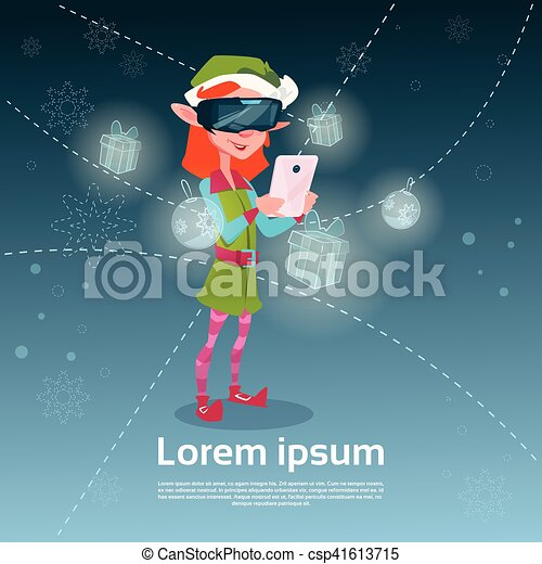 Santa Helper Green Elf Girl Wear Digital Glasses Use Smart Phone Merry Christmas Happy New Year - csp41613715