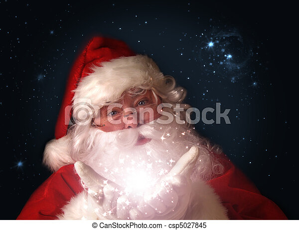 Santa holding magical christmas lights in hands - csp5027845