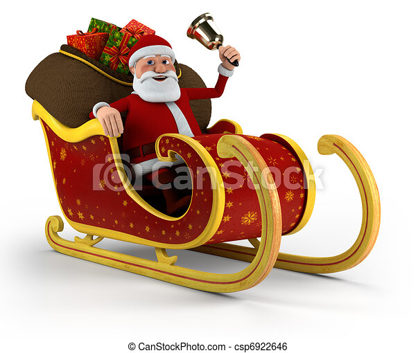 santa in his sleigh cartoon santa claus with bell sitting in his