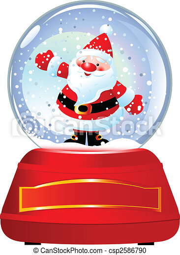 santa in snow globe santa claus in snow globe vector illustration