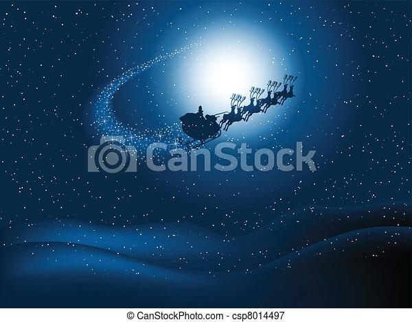 Santa in the night sky - csp8014497