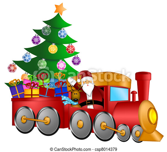 santa in train with gifts and christmas tree santa claus and rh canstockphoto com christmas train clipart free christmas toy train clipart