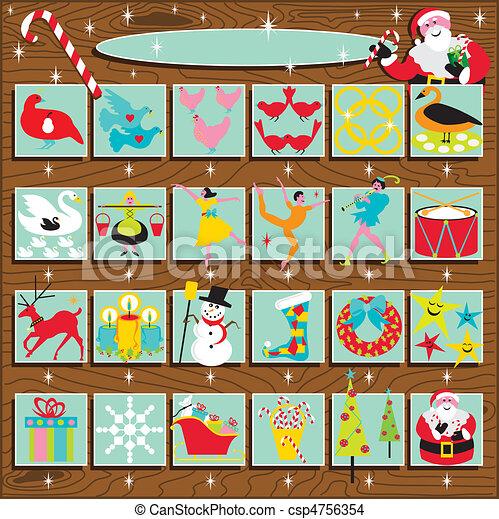 santa, kalender, advent, retro - csp4756354