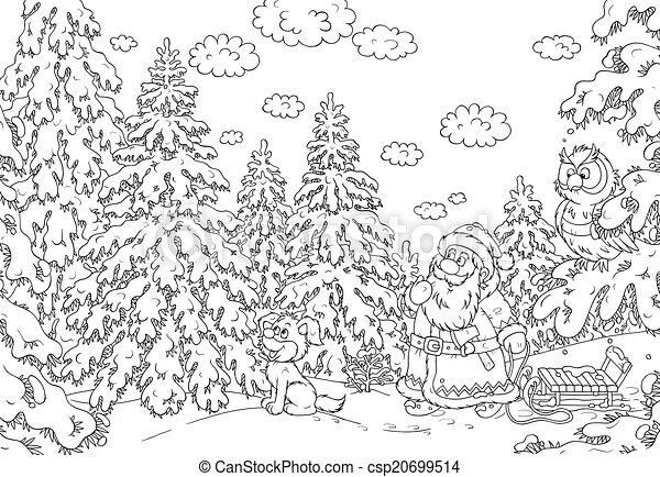 Santa Looking For A Christmas Tree In Snow Covered Forest