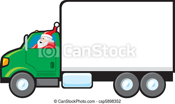 santa making a delivery santa driving a delivery truck the rh canstockphoto com ups delivery truck clipart Delivery Truck Logo