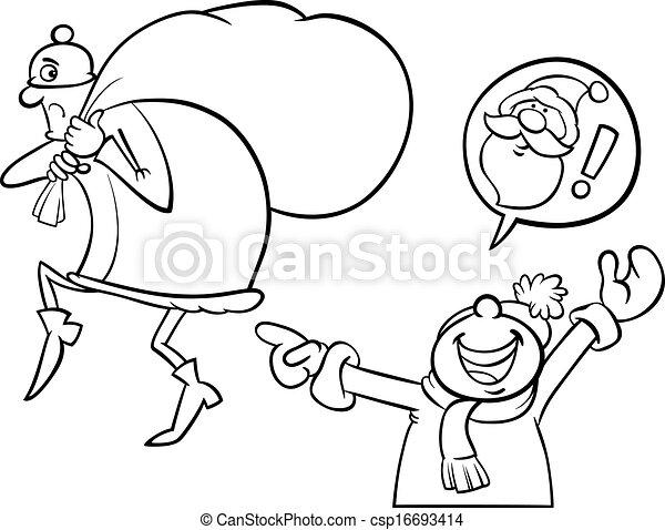 Santa Mistake Cartoon Coloring Page Black And White Cartoon