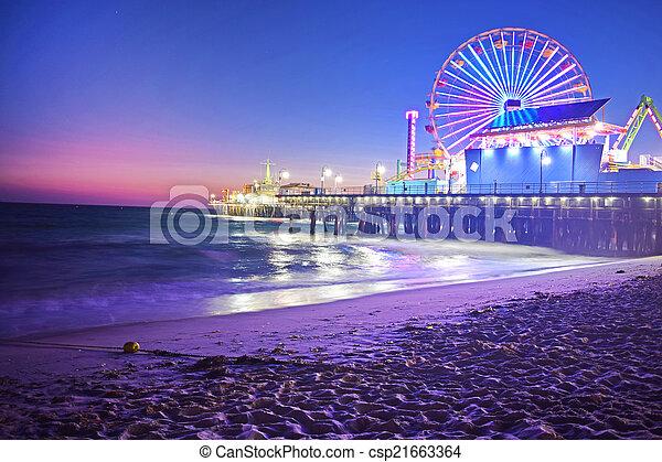 Santa Monica Pier at Night - csp21663364