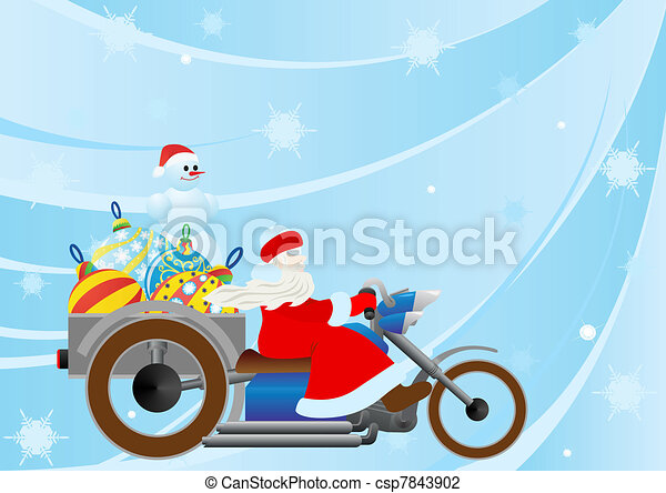 Santa on a motorcycle driven by christmas decorations.