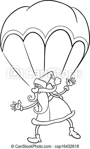 Santa On Parachute Cartoon Coloring Page Black And White Cartoon