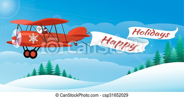 santa on the airplane santa on the plane with banner happy holidays