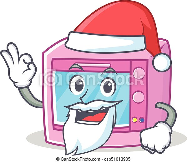 santa oven microwave character cartoon vector illustration