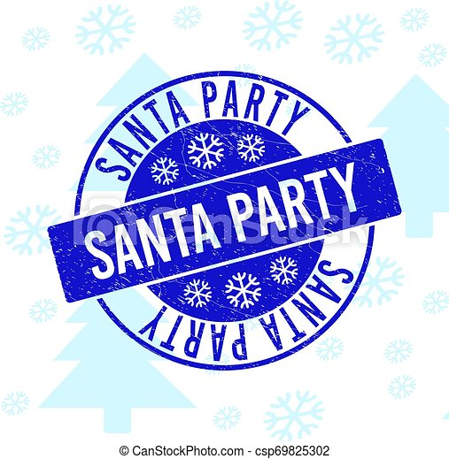 Santa Party Scratched Round Stamp Seal for Xmas - csp69825302