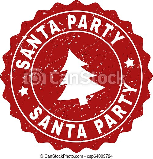 SANTA PARTY Scratched Stamp Seal with Fir-Tree - csp64003724