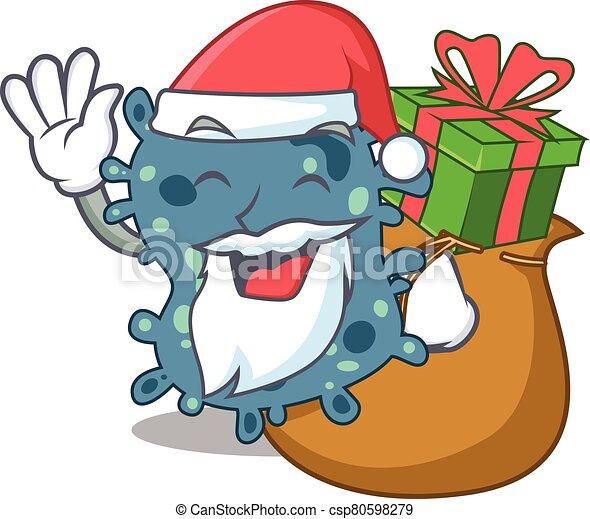 santa, presente natal, desenho, caricatura, rickettsia - csp80598279