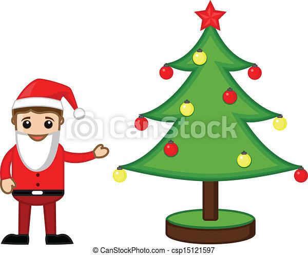 Santa Presenting Christmas Tree Drawing Art Of Santa Presenting