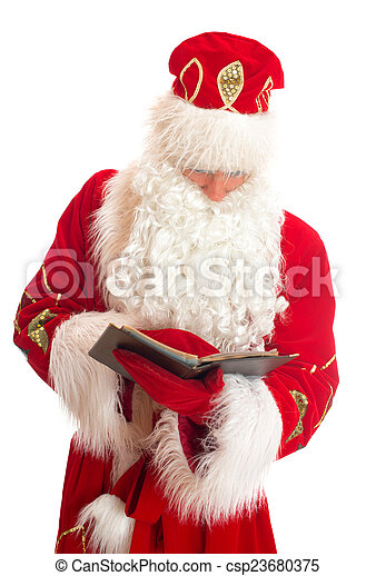Santa reading list of gifts. Isolated on white. - csp23680375