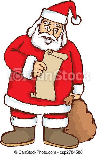 Santa reading vector - csp2784588