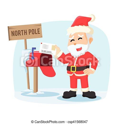 santa receiving letter illustration design - csp41568047
