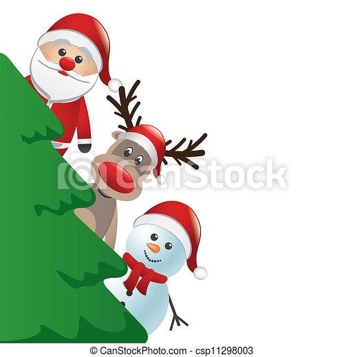 santa reindeer and snowman behind c - csp11298003