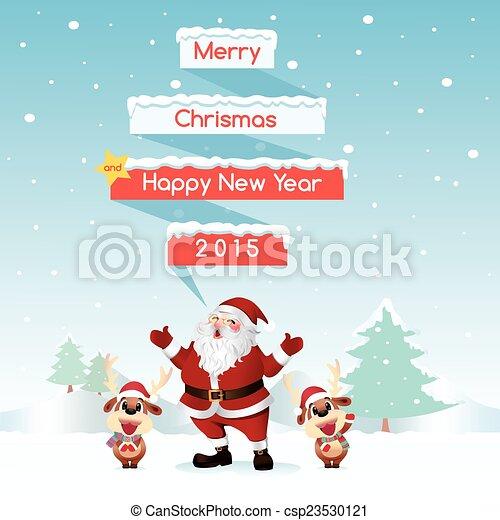Santa & Reindeer Merry Christmas - csp23530121