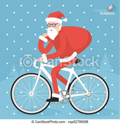 flat design hipster santa riding bicycle vector christmas greeting card template